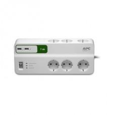 APC PM6U-GR túlfeszültségvédő elosztó, 1,8 méteres, 5 DIN, 2 USB