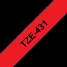 BROTHER szalag TZe-431, Piros alapon Fekete, Laminált, 12mm  0.47