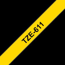 BROTHER szalag TZe-611, Sárga alapon Fekete, Laminált, 6mm  0.23