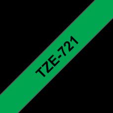BROTHER szalag TZe-721, Zöld alapon Fekete, Laminált, 9mm  0.35
