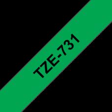 BROTHER szalag TZe-731, Zöld alapon Fekete, Laminált, 12mm  0.47