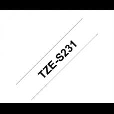 BROTHER szalag TZe-S231, Fehér alapon Fekete, Erős tapadású, 12mm  0.47
