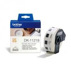 BROTHER Etikett címke DK-11219, Kör alakú papír címke 12mm, Elővágott (stancolt), Fehér alapon fekete, 1200 db