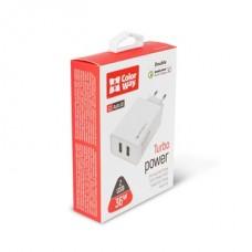 COLORWAY Hálózati töltő, AC Charger 2USB Quick Charge 3.0 (36W) white (CW-CHS017Q-WT)