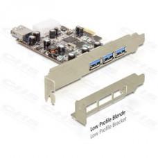 DELOCK PCI-e Bővítőkártya 3x külső + 1x belső USB 3.0 port + Low Profile